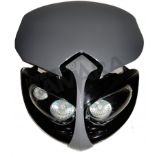 Μάσκα με 3 φανάρια μαύρη-γκρι
